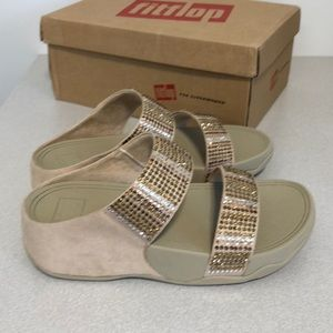 c89b31836b34b Fitflop Shoes - FITFLOP FLARE STROBE SLIDE SANDALS GOLD SIZE 6
